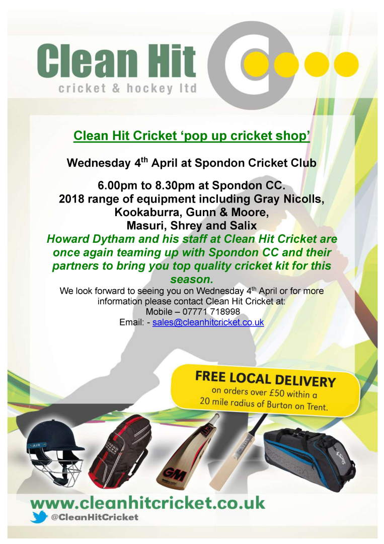 Clean Hit Event at Spondon CC Example Pop Up Shop Flyer